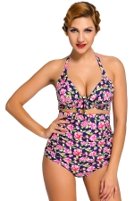Womens Floral Plus Size Halter Top&High Waist Bottom Swimsuit Pink