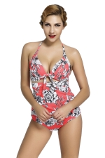 Womens Floral Plus Size Top&High Waist Bottom Swimsuit Watermelon Red