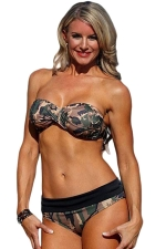 Womens Camouflage Printed Bandeau Top&Low Rise Bottom Bikini Set Green