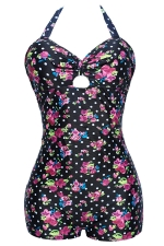 Womens Plus Size Floral Polka Dot Keyhole One Piece Swimsuit Black