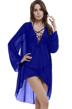 Womens Long Sleeve Lace-Up Halter High Low Beach Dress Sapphire Blue