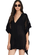 Womens Sheer Lace Patchwork V Neck Beach Dress Black