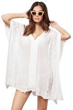 Womens Sheer Lace Patchwork V Neck Beach Dress White