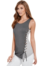 Womens Color Block Lace-up Side Sleeveless Tank Top Gray