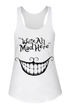 Womens U Neck Simple Smile Printed Sleeveless Tank Top White