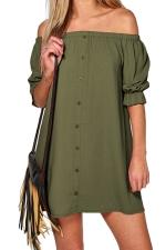 Womens Off Shoulder Half Sleeve Plain Smock Dress Army Green