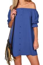 Womens Off Shoulder Half Sleeve Plain Smock Dress Blue