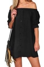 Womens Off Shoulder Half Sleeve Plain Smock Dress Black