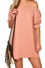 Womens Off Shoulder Half Sleeve Plain Smock Dress Pink