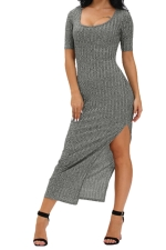 Womens Dusty Side Slit Half Sleeve Maxi Dress Gray