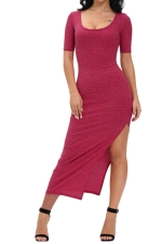 Womens Dusty Side Slit Half Sleeve Maxi Dress Rose Red
