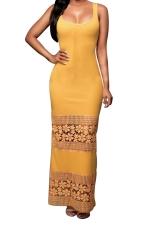 Womens Lace Patchwork Plain Maxi Tank Dress Yellow