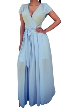 Womens V Neck Lace-up Sheer Plain Maxi Dress Light Blue