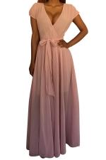 Womens V Neck Lace-up Sheer Plain Maxi Dress Pink