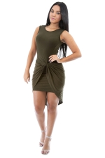 Womens Plain Knot Ruched Asymmetric Hem Tank Dress Army Green