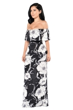 Womens Ruffled Off Shoulder Floral Print Floor Length Maxi Dress Black