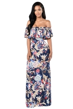 Womens Ruffled Off Shoulder Floral Printed Maxi Dress Navy Blue