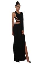 Womens Single Long Sleeve Cutout Detail Side Slit Maxi Dress Black