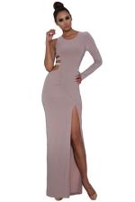 Womens Single Long Sleeve Cutout Detail Side Slit Maxi Dress Gray
