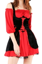 Womens Cold Shoulder Lace-up Halloween Pirate Costume Red