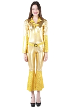 Womens Long Bell Sleeve Halloween Mermaid Costume Gold