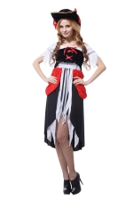 Womens Off Shoulder Irregular Tassel Halloween Pirate Costume Black