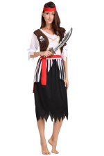 Womens Striped Midi Length Pirate Halloween Costume Black