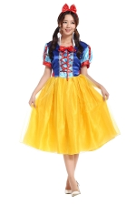 Womens Lace-up Bow Snow White Halloween Fairytale Costume Yellow