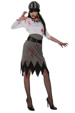 Womens Asymmetric Long Sleeve Zombie Pirate Halloween Costume Gray