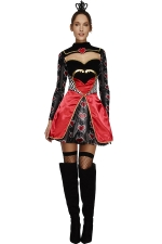 Womens Cut Out Alice Queen of Heart Halloween Costume Red