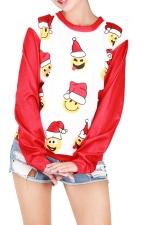 Womens Round Neck Chrisrtmas Emoji Printed Pullover Sweatshirt White