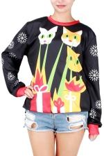 Womens Christmas Cat Printed Pullover Sweatshirt Yellow