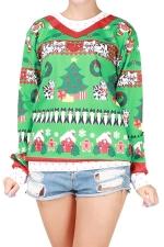 Womens Christmas Tree Printed Long Sleeve Pullover Sweatshirt Green