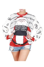 Womens Christmas Santa Printed Long Sleeve Pullover Sweatshirt White