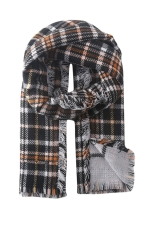 Womens Plaid Eyelash Fringe Warm Scarf Black