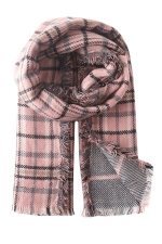 Womens Plaid Eyelash Fringe Warm Scarf Pink