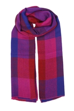 Womens Color Block Plaid Blanket Scarf Purple
