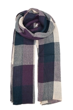 Womens Color Block Plaid Blanket Scarf Navy Blue
