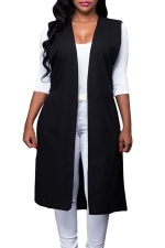 Womens Plain Sides Slit Knee Length Sleeveless Vest Black