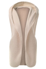Womens Plain Hooded Warm Sleeveless Vest Apricot