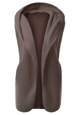 Womens Plain Hooded Warm Sleeveless Vest Brown