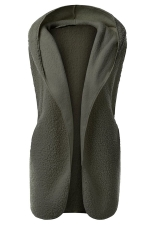 Womens Plain Hooded Warm Sleeveless Vest Green