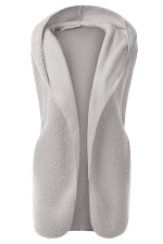 Womens Plain Hooded Warm Sleeveless Vest Light Gray