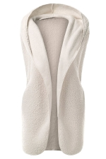 Womens Plain Hooded Warm Sleeveless Vest White