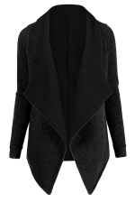 Womens Turndown Collar Long Sleeve Asymmetric Cardigan Coat Black