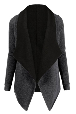 Womens Turndown Collar Long Sleeve Asymmetric Cardigan Coat Dark Gray