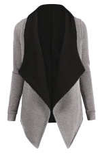 Womens Turndown Collar Long Sleeve Asymmetric Cardigan Coat Light Gray