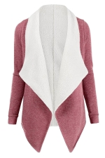 Womens Turndown Collar Long Sleeve Asymmetric Cardigan Coat Pink