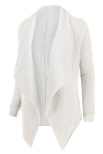 Womens Turndown Collar Long Sleeve Asymmetric Cardigan Coat White