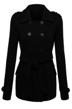 Womens Turndown Collar Double-breasted Sash Design Coat Black